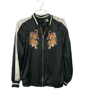 H&M Women's Embroidered Varsity Bomber Jacket Sz 4